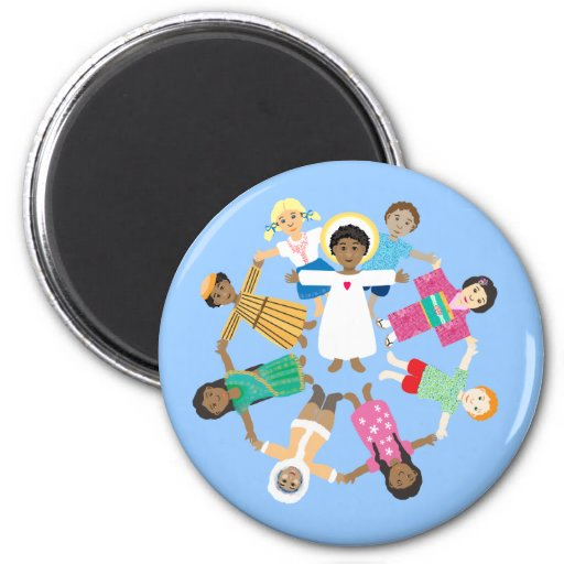 Child Jesus with circle of children of all nations Fridge Magnet