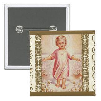 Child Jesus with Host Eucharist Child Lilies Pinback Button
