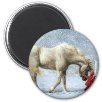 Child Leading A Horse In The Snow Magnet