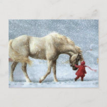 Child Leading A Horse In The Snow Postcard