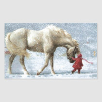 Child Leading A Horse In The Snow Rectangular Sticker