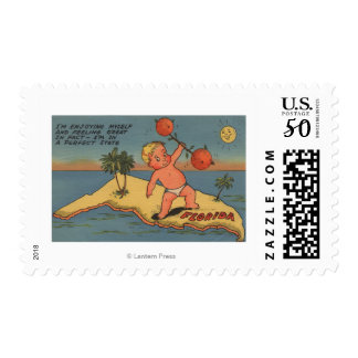 Child Lifting Barbell of Oranges Postage