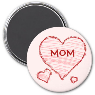 Child-like declaration of love in crayon & marker 3 inch round magnet