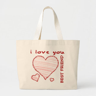 Child-like declaration of love in crayon & marker large tote bag