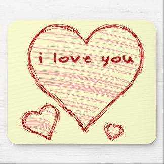 Child-like declaration of love in crayon & marker mouse pad