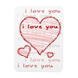 Child-like declaration of love in crayon & marker rectangular photo magnet