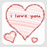 Child-like declaration of love in crayon & marker sticker
