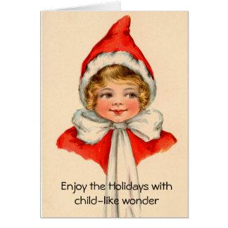 Child-like wonder vintage art Christmas Card