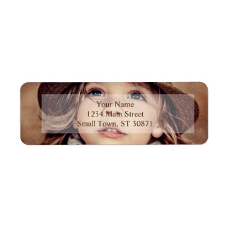 Child Looking up Girl Hat Vintage Portrait Label