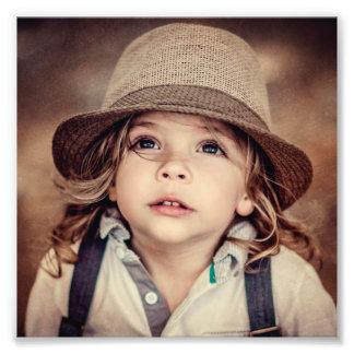 Child Looking up Girl Hat Vintage Portrait Photo Print