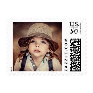 Child Looking up Girl Hat Vintage Portrait Postage