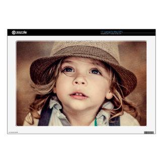 """Child Looking up Girl Hat Vintage Portrait Skin For 17"""" Laptop"""