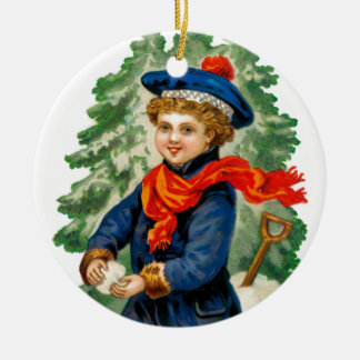 Child Making Snowball Ceramic Ornament