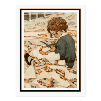 Child Mending Curtains by Jessie Willcox Smith Postcard