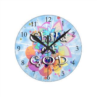 Child of God, Pastel Round Wallclocks