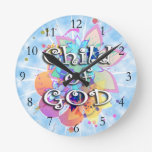 Child of God, Pastel Round Wallclocks