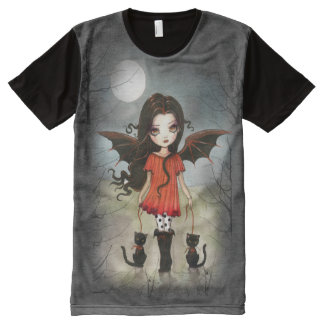 Child of Halloween Big Eye Vampire and Black Cats All-Over Print T-shirt
