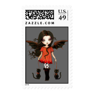 Child of Halloween Gothic Fairy and Cats Postage