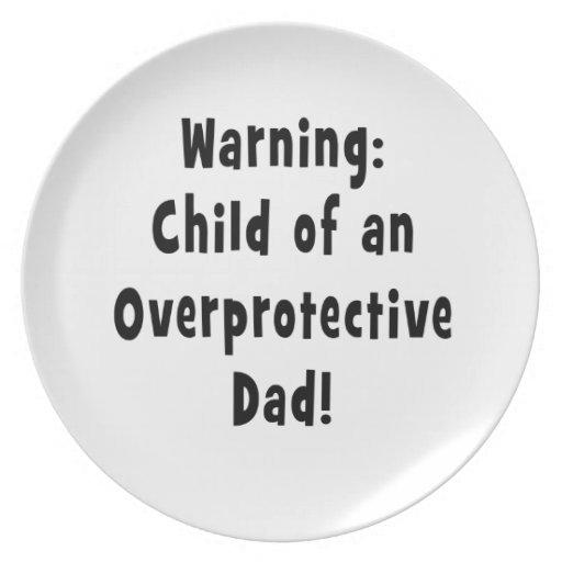 child of overprotective dad black dinner plates