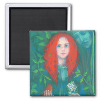 Child of the forest, red haired girl, green shades magnet