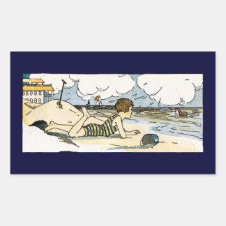 Child on Beach Vintage Art Rectangular Sticker