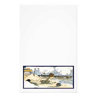 Child on Beach Vintage Art Stationery