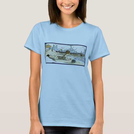 Child on Beach Vintage Art T-Shirt