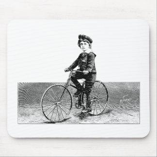 Child On Bike - Vintage Bicycle Illustration Mousepads