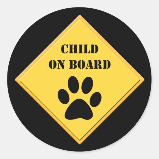 Child on board dog car sticker sheet