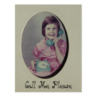 Child on Phone, Call Me Please Postcard