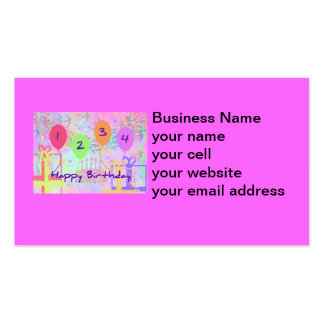Child or Kid Birthday Four Years Happy Birthday! Double-Sided Standard Business Cards (Pack Of 100)