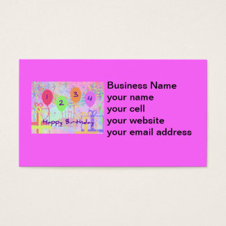 Child or Kid Birthday Four Years Happy Birthday! Business Card