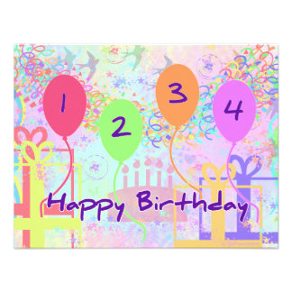 Child or Kid Birthday Four Years Happy Birthday! Personalized Announcement