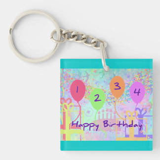 Child or Kid Birthday Four Years Happy Birthday! Acrylic Key Chains