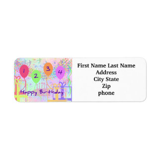 Child or Kid Birthday Four Years Happy Birthday! Labels