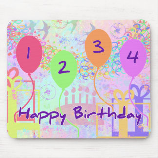 Child or Kid Birthday Four Years Happy Birthday! Mouse Pad
