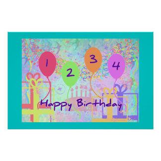 Child or Kid Birthday Four Years Happy Birthday! Posters