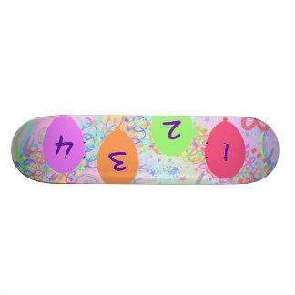 Child or Kid Birthday Four Years Happy Birthday! Skate Boards