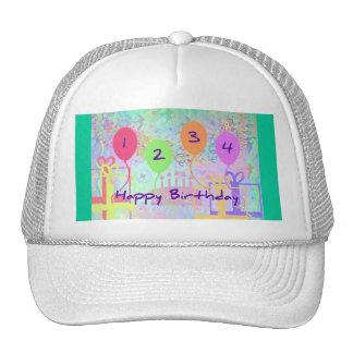 Child or Kid Birthday Four Years Happy Birthday! Trucker Hat