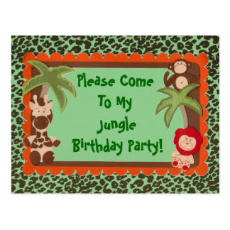 Child or Teen Fun Jungle Jaguar Birthday Shower Postcards