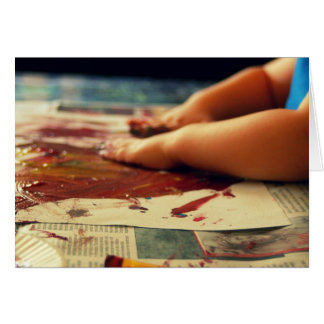 child painting hands card
