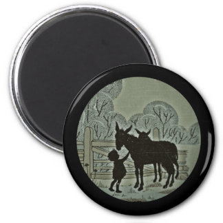Child Petting Donkey 2 Inch Round Magnet