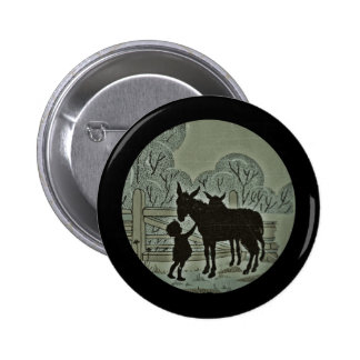 Child Petting Donkey Pinback Button