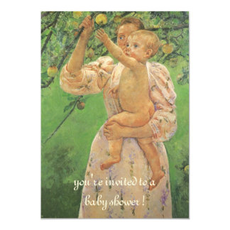 Child Picking Fruit by Cassatt Vintage Baby Shower 5x7 Paper Invitation Card