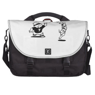Child Playing Catch with Dog Laptop Messenger Bag
