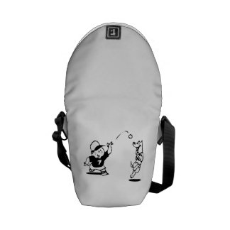 Child Playing Catch with Dog Messenger Bag