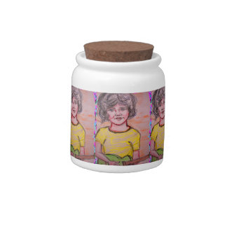 child playing guitar candy jars