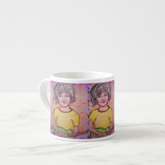 child playing toy electric guitar espresso cup