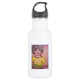 child playing toy electric guitar water bottle
