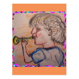 child playing toy horn(virtuoso) postcard